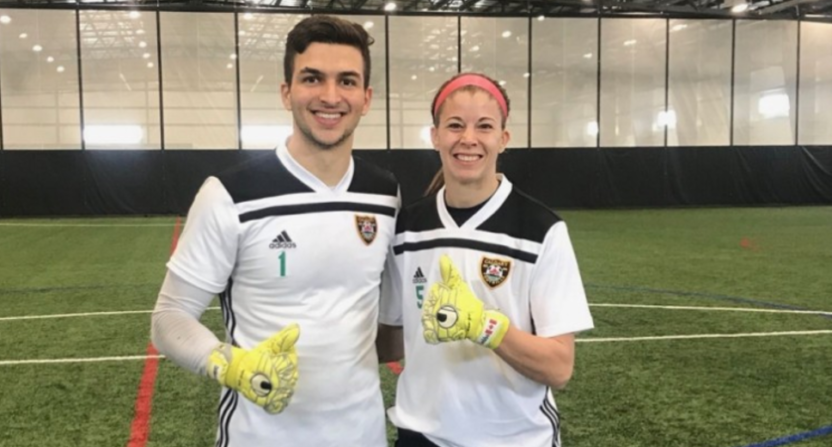 Calgary Foothills' players Marco Carducci and Stephanie Labbé.