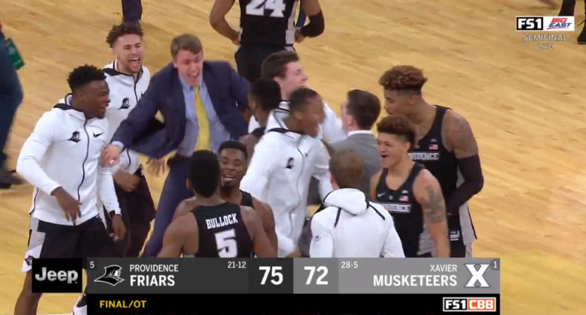 Providence basketball coach splits trousers  during intense Big East final