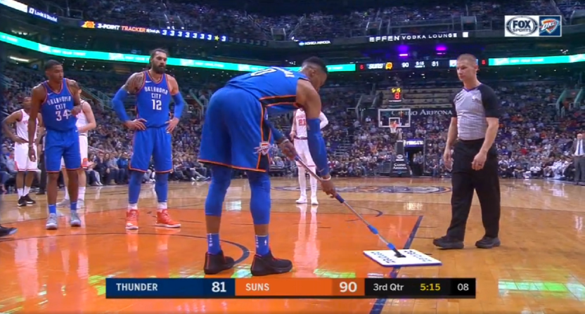 Russell Westbrook takes sweeping matters into his own hands