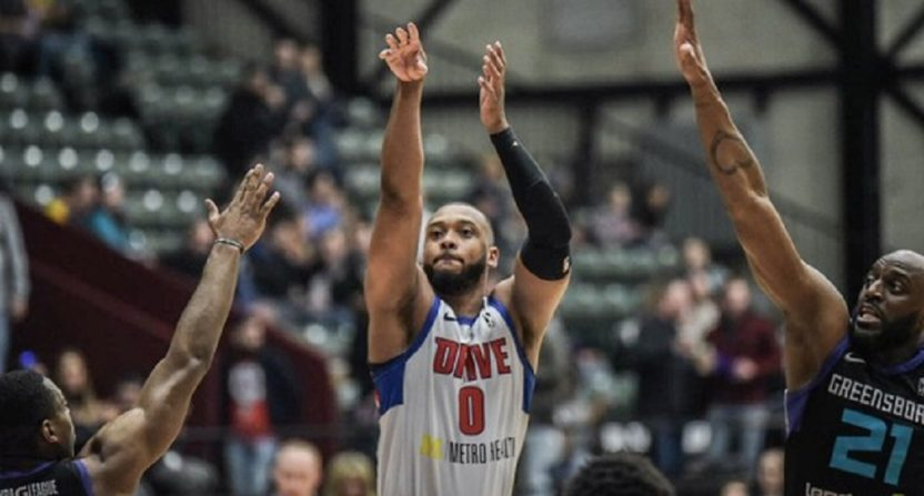 Grand Rapids Drive forward Zeke Upshaw collapses on the court