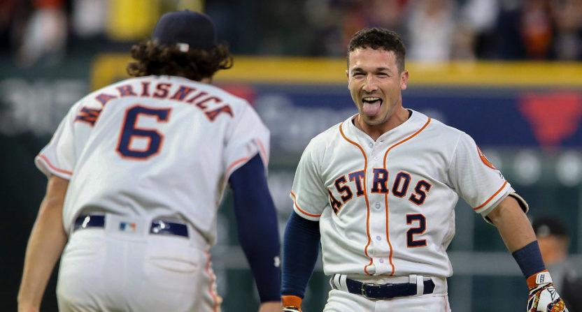 The Astros' Alex Bregman celebrates an incredibly improbable walkoff.