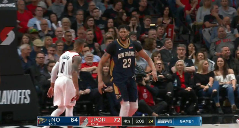Anthony Davis celebrated throwing down a dunk Saturday night.