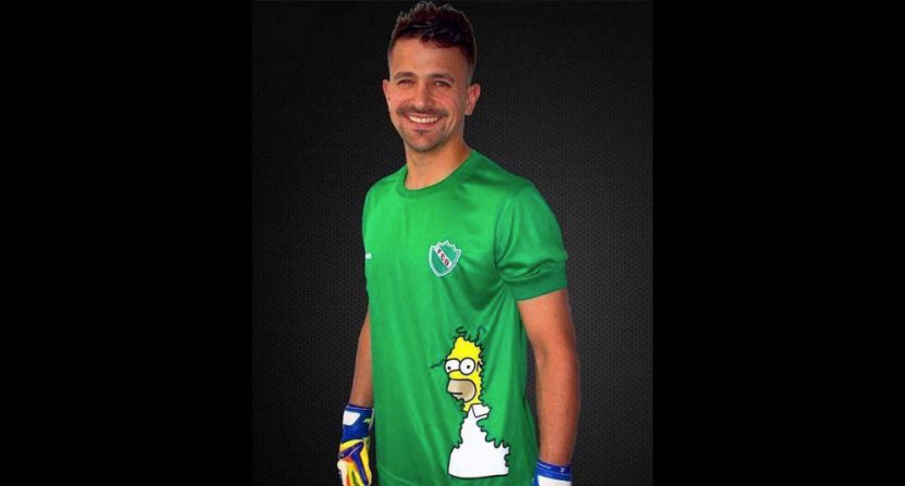 An Argentine fourth-division team brought in this Homer Simpson meme for their keeper's kit.