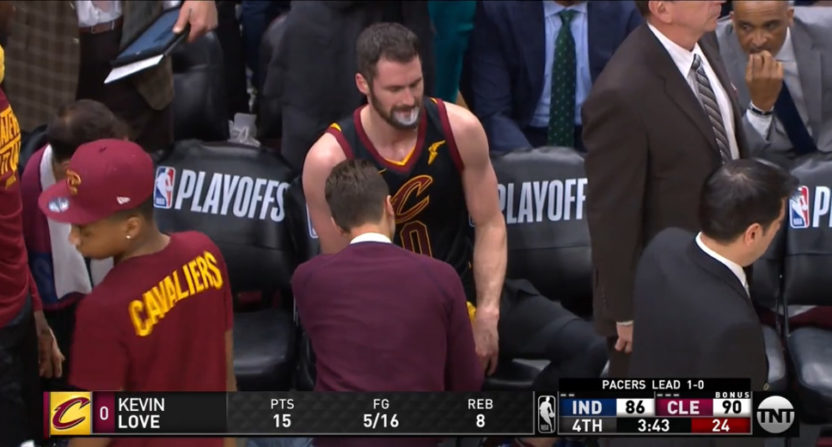 Kevin Love after a thumb injury