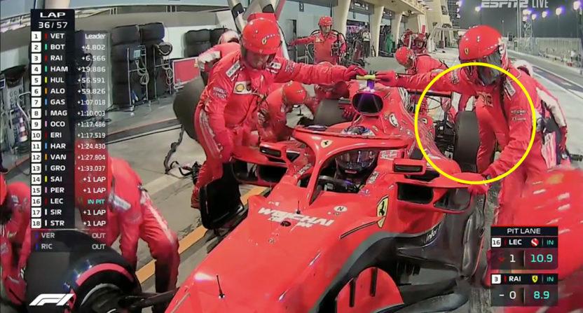 Ferrari F1 vehicle hits pit crew member, cracks leg bones in half