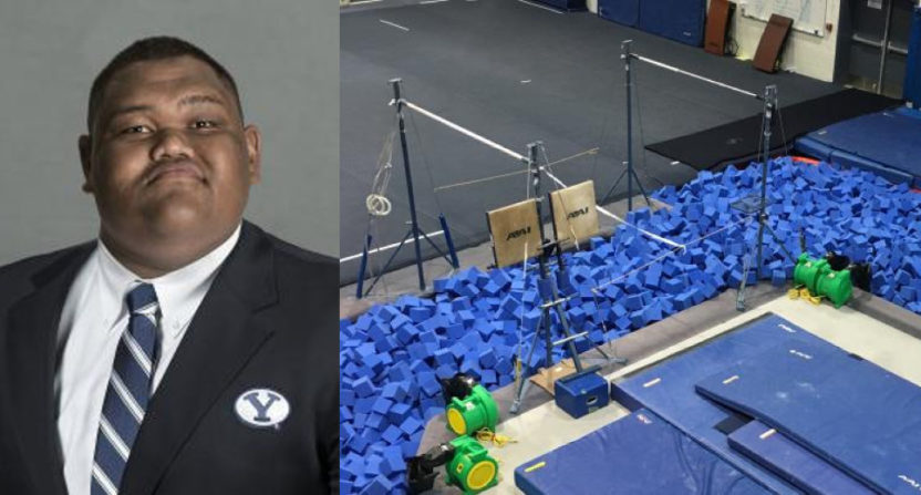 397-pound Motekai Langi got stuck in the BYU gymnastics foam pit.