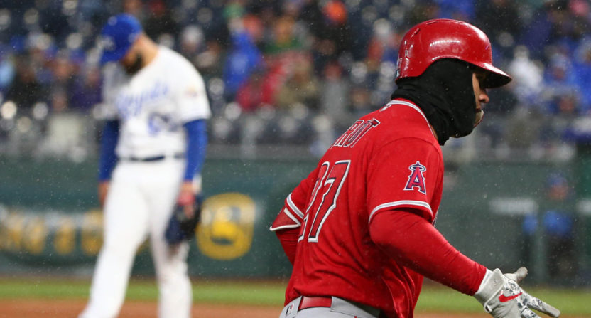 Mike Trout belted a home run against the Royals Saturday.