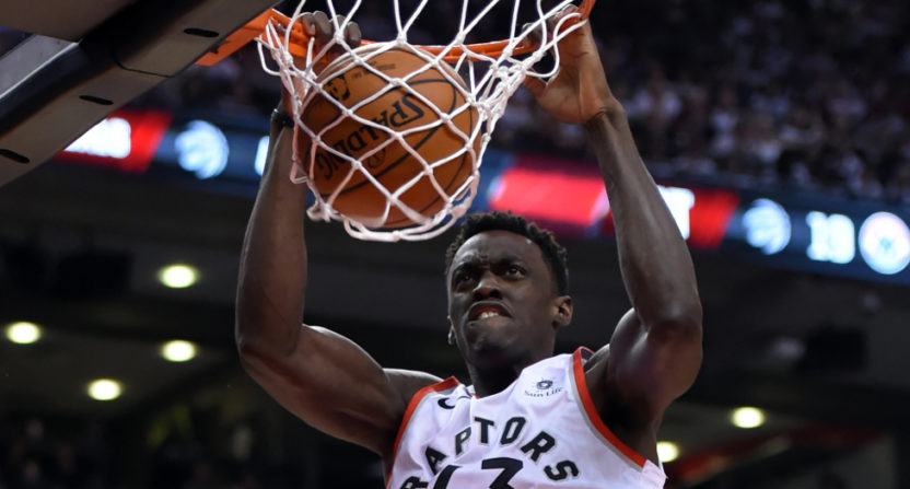 Raptors' forward Pascal Siakam had an emphatic dunk Saturday against the Wizards.