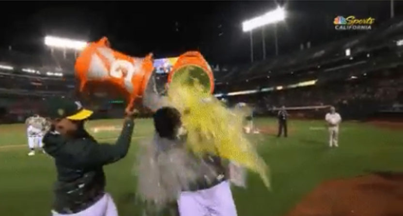 Sean Manaea gets doused in Gatorade by teammates after a no-hitter.
