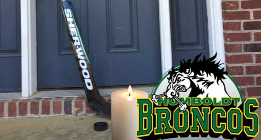 People across the world put their sticks out in tribute to the Humboldt Broncos, including this hockey fan from Kentucky.
