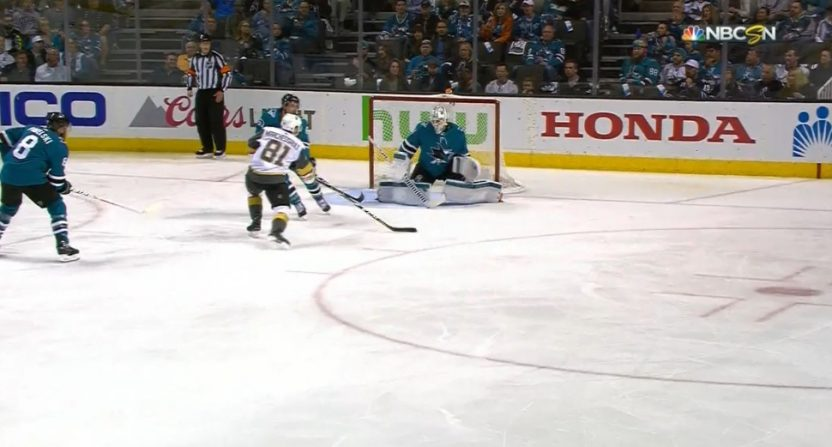 Jonathan Marchessault's shot appeared to hit Sharks' goalie Martin Jones in the cup.