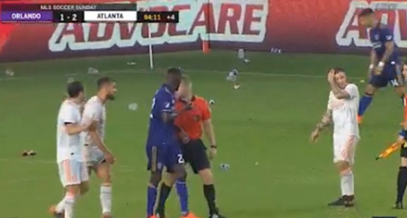 Orlando City fans threw trash at Atlanta United players Sunday.