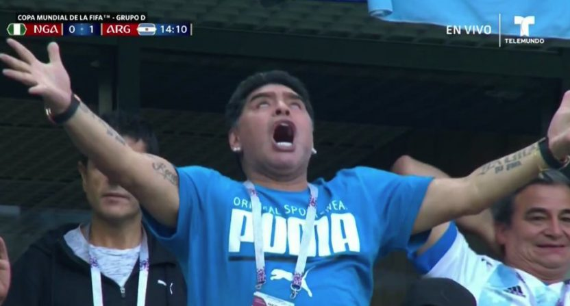 Diego Maradona celebrating a goal Tuesday.