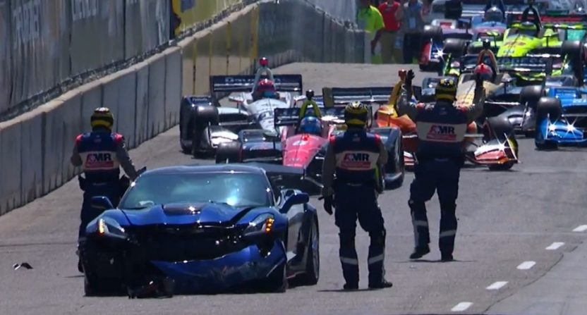 The pace car crashed at the start of Sunday's Detroit Grand Prix.