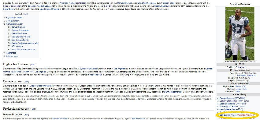 Brandon Browner's Wikipedia page briefly assigned him to San Quentin prison.