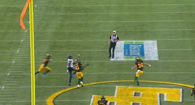 This off-a-helmet tip drill was part of Friday night's weird CFL football.