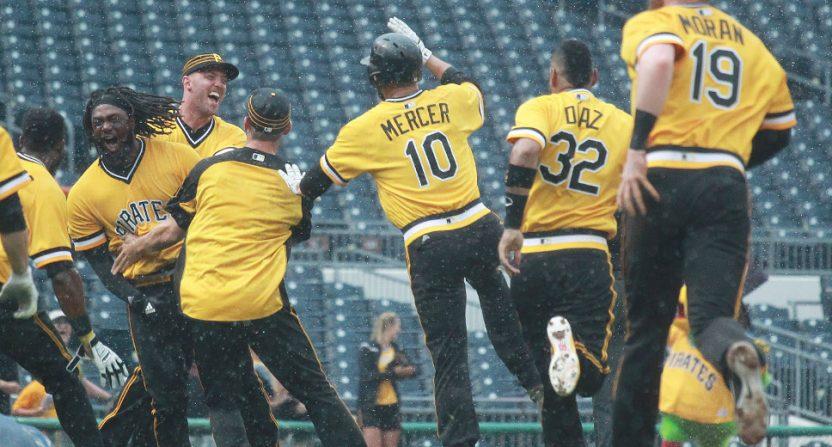 The Pirates celebrating Josh Bell's walk-off double Sunday.