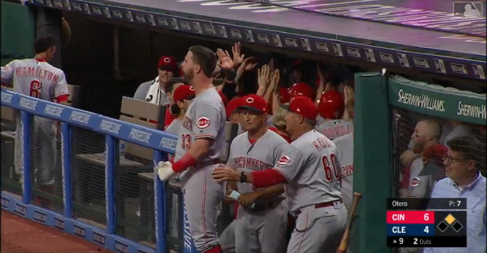 The Reds' celebration after Joey Votto's go-ahead double.