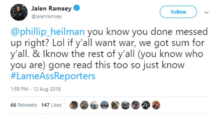 Image result for jalen ramsey tweet