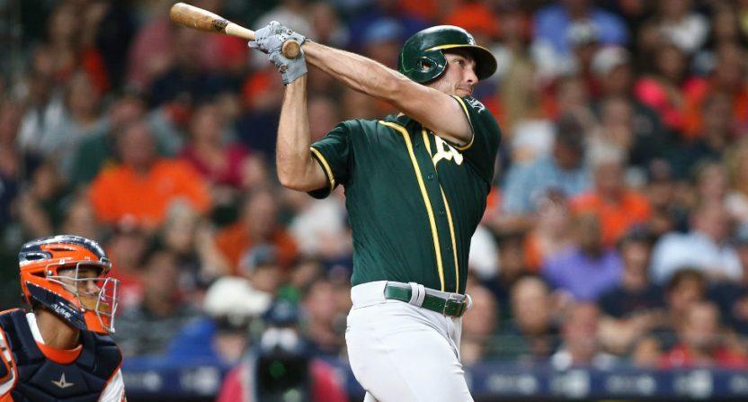 Matt Olson blasted a three-run homer for the A's on Tuesday.