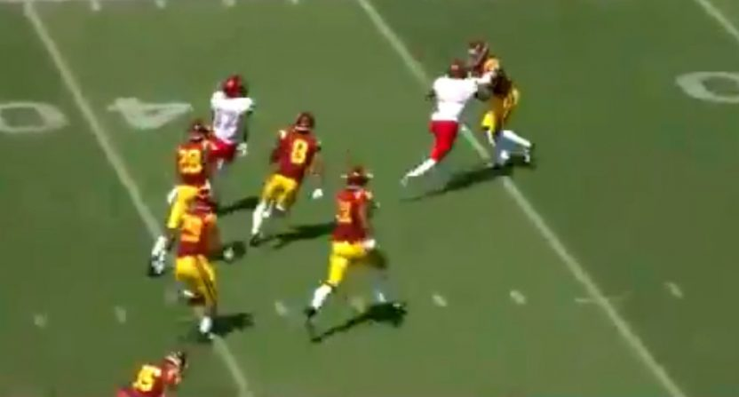 Evan Austrie came up with a long run on a fake punt against USC Saturday.