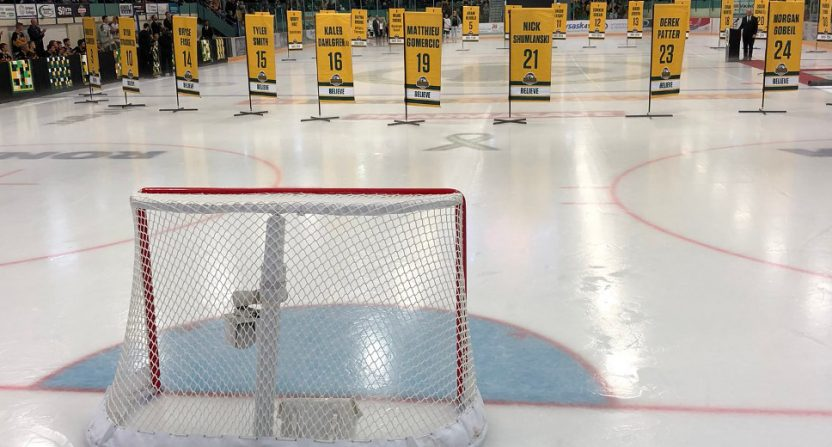 The Humboldt Broncos' post-game tribute.