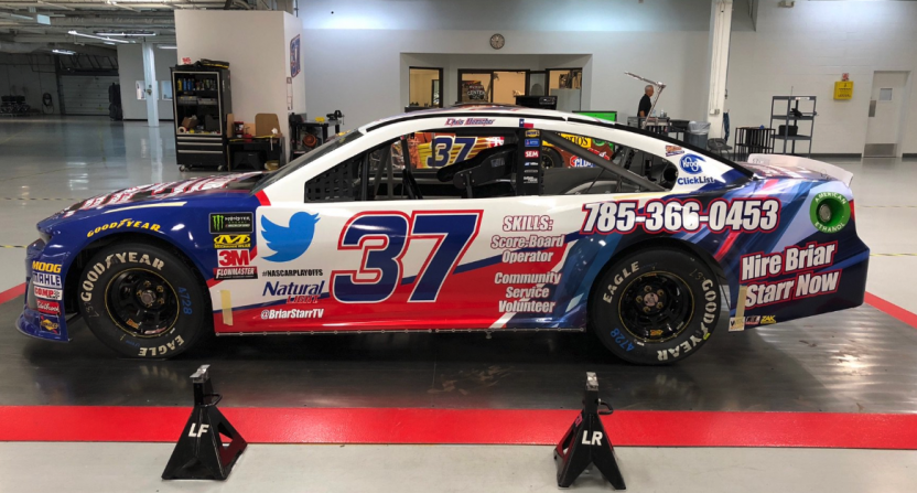 Briar Starr gets his resume and contact info on a NASCAR car thanks to a Natty Light contest.
