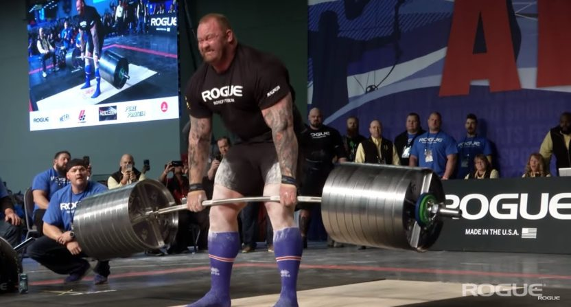 The Mountain, Hafthor Bjornsson, dead lifts world record weight in strongman competition