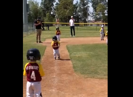 'Don't Rush Me, Man!' Toddler 'Runs' to Home Plate in Slo-Mo