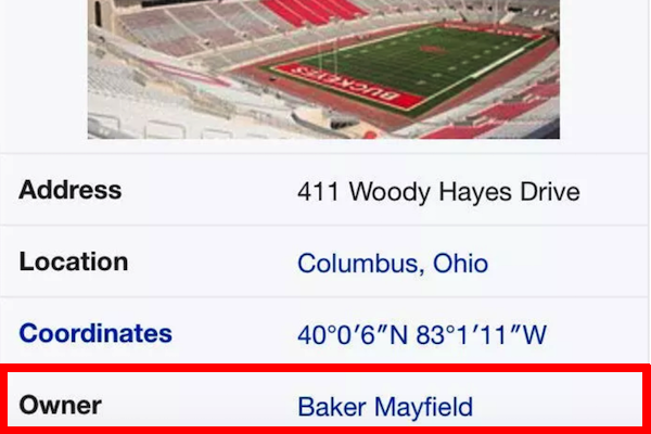 Baker Mayfield Plants Flag >> After Flag Plant, Ohio Stadium's Wikipedia Page Edited to List Oklahoma QB Baker Mayfield as Its ...