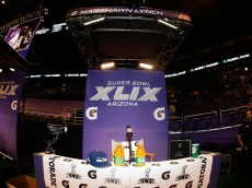 PHOENIX, AZ - JANUARY 27:  The booth of  Marshawn Lynch #24 of the Seattle Seahawks sits empty at Super Bowl XLIX Media Day Fueled by Gatorade inside U.S. Airways Center on January 27, 2015 in Phoenix, Arizona.  (Photo by Christian Petersen/Getty Images)