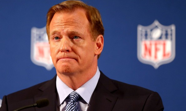 NEW YORK, NY - SEPTEMBER 19:  NFL Commissioner Roger Goodell talks during a press conference at the Hilton Hotel on September 19, 2014 in New York City. Goodell spoke about the NFL's failure to address domestic violence, sexual assault and drug abuse in the league.  (Photo by Elsa/Getty Images)