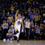 OAKLAND, CA - NOVEMBER 05:  Stephen Curry #30 of the Golden State Warriors reacts after he made a three-pointer to give the Warriors a 65-40 lead over the Los Angeles Clippers in the first half at ORACLE Arena on November 5, 2014 in Oakland, California. NOTE TO USER: User expressly acknowledges and agrees that, by downloading and or using this photograph, User is consenting to the terms and conditions of the Getty Images License Agreement.  (Photo by Ezra Shaw/Getty Images)