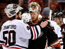 ANAHEIM, CA - MAY 30:  Corey Crawford #50 of the Chicago Blackhawks and Frederik Andersen #31 of the Anaheim Ducks shake hands after the Blackhawks 5-3 victory in Game Seven of the Western Conference Finals during the 2015 NHL Stanley Cup Playoffs  at the Honda Center on May 30, 2015 in Anaheim, California.  (Photo by Maxx Wolfson/Getty Images)