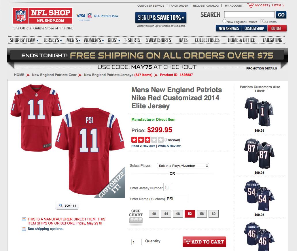 NFLShop.com Won't Let Fans Create A DeflateGate Jersey ...