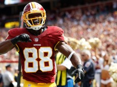 LANDOVER, MD - SEPTEMBER 20: Wide receiver Pierre Garcon #88 of the Washington Redskins celebrates a second quarter touchdown during a game against the St. Louis Rams at FedExField on September 20, 2015 in Landover, Maryland. (Photo by Matt Hazlett/Getty Images)