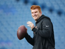 ORCHARD PARK, NY - OCTOBER 18:   Andy Dalton #14 of the Cincinnati Bengals warms up before the game against the Buffalo Bills at Ralph Wilson Stadium on October 18, 2015 in Orchard Park, New York.  (Photo by Tom Szczerbowski/Getty Images)