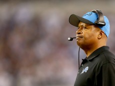 ARLINGTON, TX - JANUARY 04:  Head coach Jim Caldwell of the Detroit Lions looks on in the second half while taking on the Dallas Cowboys during the NFC Wildcard Playoff Game at AT&T Stadium on January 4, 2015 in Arlington, Texas.  (Photo by Ronald Martinez/Getty Images)
