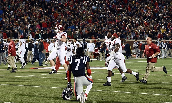 OXFORD, MS - NOVEMBER 07:  Trae Elston #7 of the Mississippi Rebels reacts to an overtime loss to the Arkansas Razorbacks at Vaught-Hemingway Stadium on November 7, 2015 in Oxford, Mississippi.  (Photo by Stacy Revere/Getty Images)