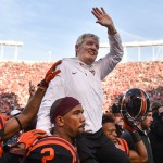 BLACKSBURG, VA - NOVEMBER 21: Head coach of the Virginia Tech Hokies Frank Beamer is carried off the field following the game against the North Carolina Tar Heels on November 21, 2015 in Blacksburg, Virginia. (Photo by Michael Shroyer/Getty Images)