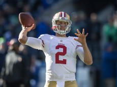 SEATTLE, WA - NOVEMBER 22: Quarterback Blaine Gabbert #2 of the San Francisco 49ers passes the ball during warmups before the football game against the Seattle Seahawks at CenturyLink Field on November 22, 2015 in Seattle, Washington. The Seahawks won the game 29-13. (Photo by Stephen Brashear/Getty Images)