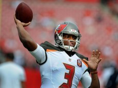 TAMPA, FL - NOVEMBER 15: Quarterback Jameis Winston #3 of the Tampa Bay Buccaneers throws during pregame warmup before the game against the Dallas Cowboys at Raymond James Stadium on November 15, 2015 in Tampa, Florida. (Photo by Cliff McBride/Getty Images)