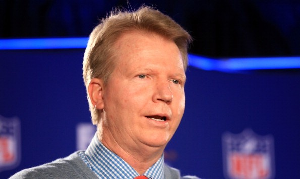 INDIANAPOLIS, IN - FEBRUARY 01:  CBS NFL gmae analyst Phil Simms speaks during a press conference for the FedEx Air & Ground NFL Players of the Year in the Super Bowl XLVI Media Center at the J.W. Marriott Indianapolis on February 1, 2012 in Indianapolis, Indiana.  (Photo by Scott Halleran/Getty Images)