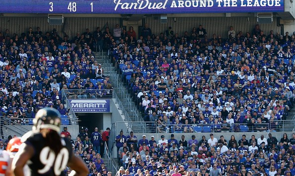 BALTIMORE, MD - OCTOBER 11: An ad for Fan Duel is shown during the second half of the Baltimore Ravens and Cleveland Browns game at M&T Bank Stadium on October 11, 2015 in Baltimore, Maryland.  (Photo by Rob Carr/Getty Images)