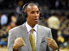 CLEVELAND, OH - OCTOBER 30: TV analyst Reggie Miller speaks before a game between the Cleveland Cavaliers and the New York Knicks at Quicken Loans Arena on October 30, 2014 in Cleveland, Ohio. NOTE TO USER: User expressly acknowledges and agrees that, by downloading and or using this photograph, User is consenting to the terms and conditions of the Getty Images License Agreement.  (Photo by Jason Miller/Getty Images)