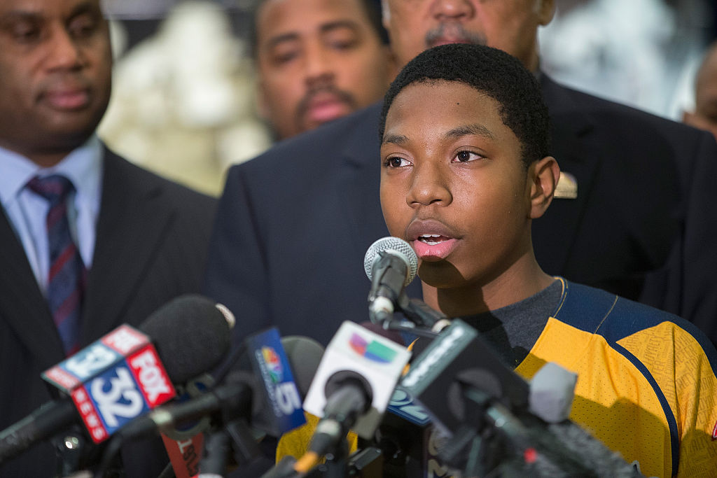CHICAGO, IL - FEBRUARY 11:  Brandon Green, a catcher and pitcher for the Jackie Robinson West Little League baseball team, speaks during a press conference after learning the team would be stripped of their national champion title on February 11, 2015 in Chicago, Illinois. The team was forced to forfeit all of their 2014 wins after the league found they had players on their roster that lived outside the teams boundaries.  (Photo by Scott Olson/Getty Images)