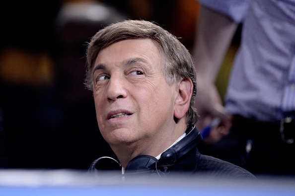 LAS VEGAS, NV - MARCH 07: Television personality Marv Albert looks on during a Premier Boxing Champions bout in the MGM Grand Garden Arena on March 7, 2015 in Las Vegas, Nevada.  (Photo by Harry How/Getty Images)