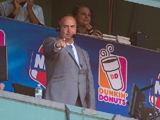 BOSTON, MA - SEPTEMBER 27: Don Orsillo, during his last game as the play-by-play announcer for Boston Red Sox games on the New England Sports Network, waves to the crowd after a video tribute during the seventh inning at Fenway Park on September 27, 2015 in Boston, Massachusetts. (Photo by Rich Gagnon/Getty Images) *** Local Caption *** Don Orsillo