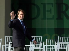 MEDINAH, IL - SEPTEMBER 27:  Former Ryder Cup captain Paul Azinger takes the stage during the Opening Ceremony for the 39th Ryder Cup at Medinah Country Club on September 27, 2012 in Medinah, Illinois.  (Photo by Andy Lyons/Getty Images)