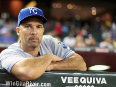 PHOENIX, AZ - AUGUST 07:  Raul Ibanez #18 of the Kansas City Royals during the MLB game against the Arizona Diamondbacks at Chase Field on August 7, 2014 in Phoenix, Arizona.  The Royals defeated the Diamondbacks 6-2.  (Photo by Christian Petersen/Getty Images)